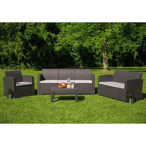 4 Piece Outdoor Faux Rattan Chair, Loveseat, Sofa and Table Set in Dark Gray