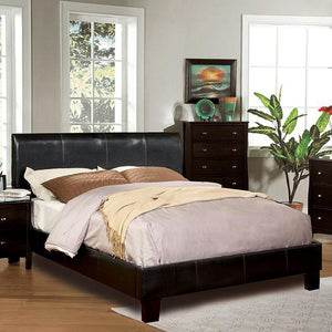 Acisco Contemporary Padded Leatherette Queen Platform Bed