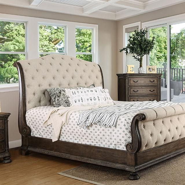 Acres Traditional Style Rustic Natural Tone Upholstered Queen Bed
