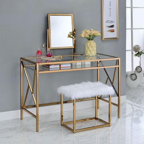 Adelle Contemporary Style Vanity Table & Stool Set in Champagne