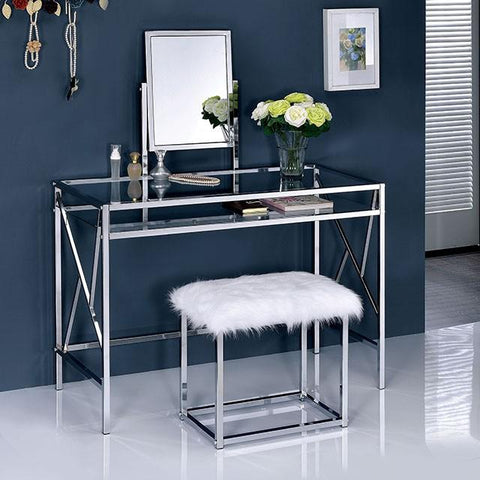 Adelle Contemporary Style Vanity Table & Stool Set in Chrome
