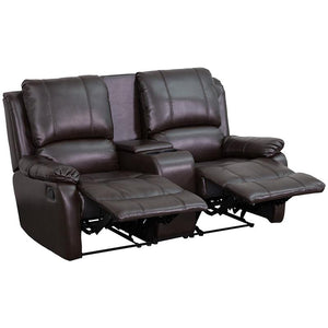 Allure Series 2-Seat Reclining Pillow Back Leather Theater Seating Unit with Cup Holders