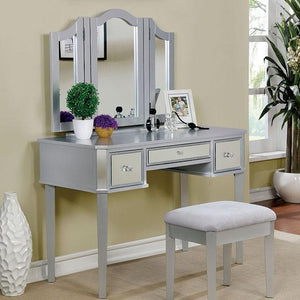 Alma Contemporary Style Vanity Table & Stool in Silver