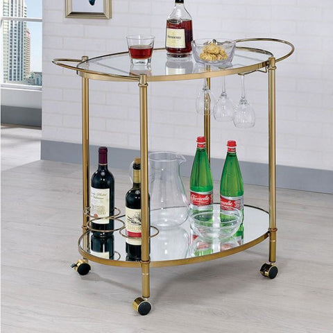Almerria Contemporary Style Glass Shelf Serving Cart in Champagne
