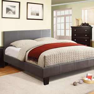 Ameena Contemporary Leatherette Queen Platform Bed in Gray