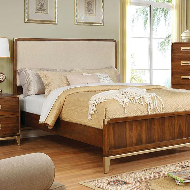Anetta Transitional Fabric Padded Queen Platform Bed