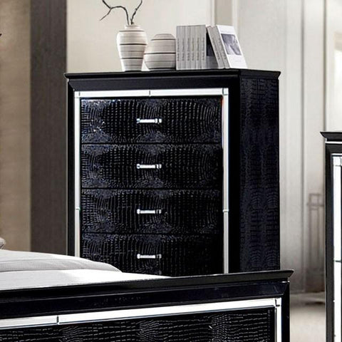Balitoria Contemporary Style Crocodile Textured Chest in Black