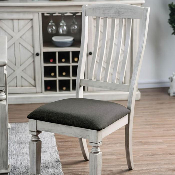 Banna Farmhouse Slatted Side Chair (Set of 2) in Antique White