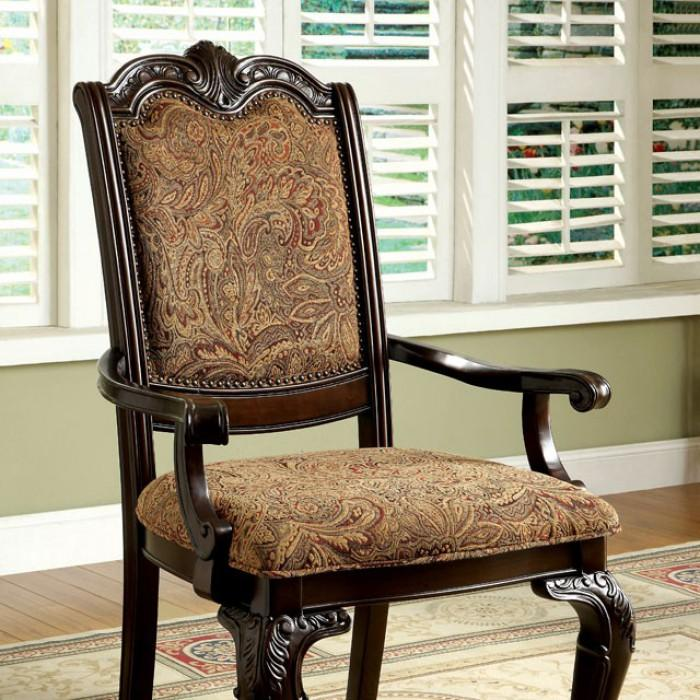 Bell Traditional Fabric Arm Chair (Set of 2) in Brown Cherry