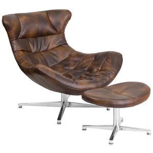 Bomber Jacket Leather Cocoon Chair with Ottoman