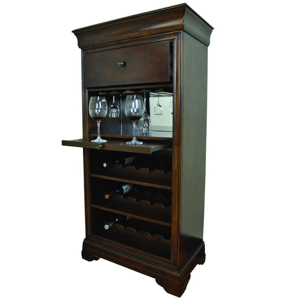 Cappuccino Bar Cabinet W/ Spindle