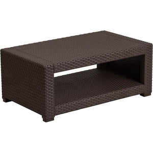 Chocolate Brown Faux Rattan Coffee Table
