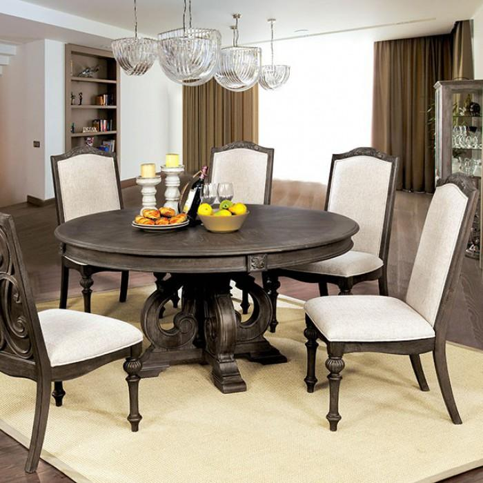 Claus Rustic Round Dining Table In Rustic Natural Tone Dash Of