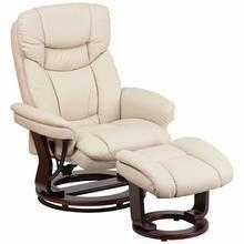 Contemporary Beige Leather Recliner And Ottaman w/ Swivel Mahogany Base