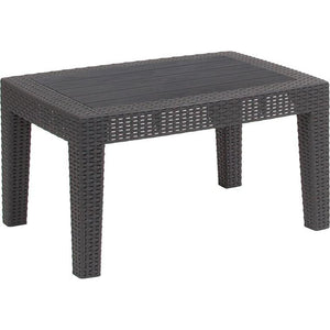 Dark Gray Faux Rattan Coffee Table