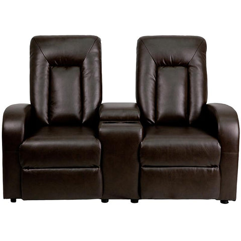 Eclipse Series 2-Seat Push Button Motorized Reclining Brown Leather Theater Seating Unit with Cup Holders