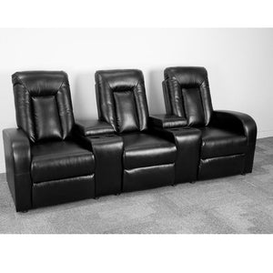 Eclipse Series 3-Seat Reclining Leather Theater Seating Unit with Cup Holders