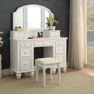 Elisabeth Transitional Style Vanity Table & Stool in White