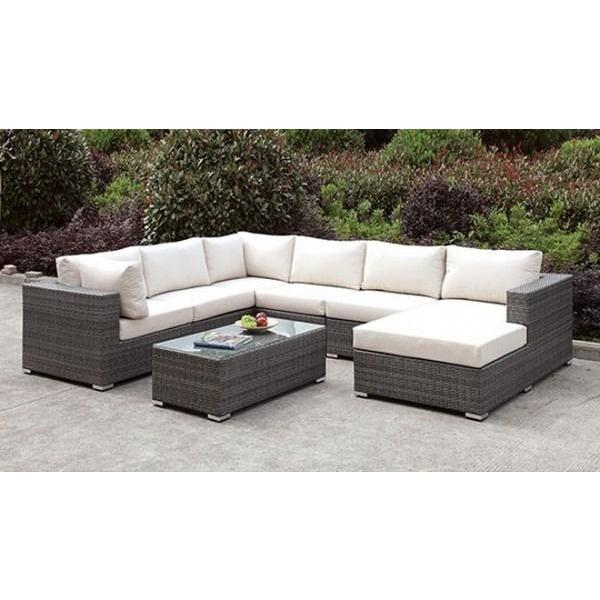 Furniture of America Somani 8pc Outdoor U-Sectional with Coffee Table