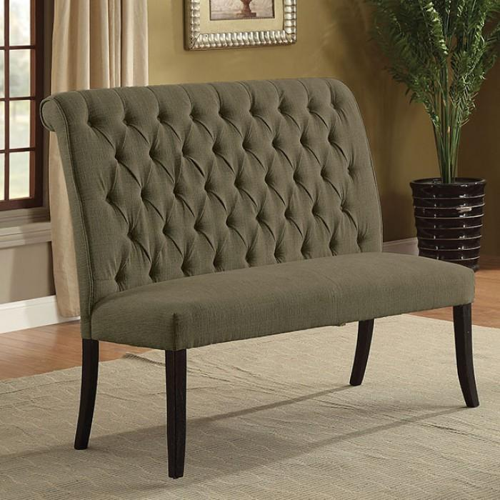 Gracie Contemporary Button Tufted Dining Bench In Gray