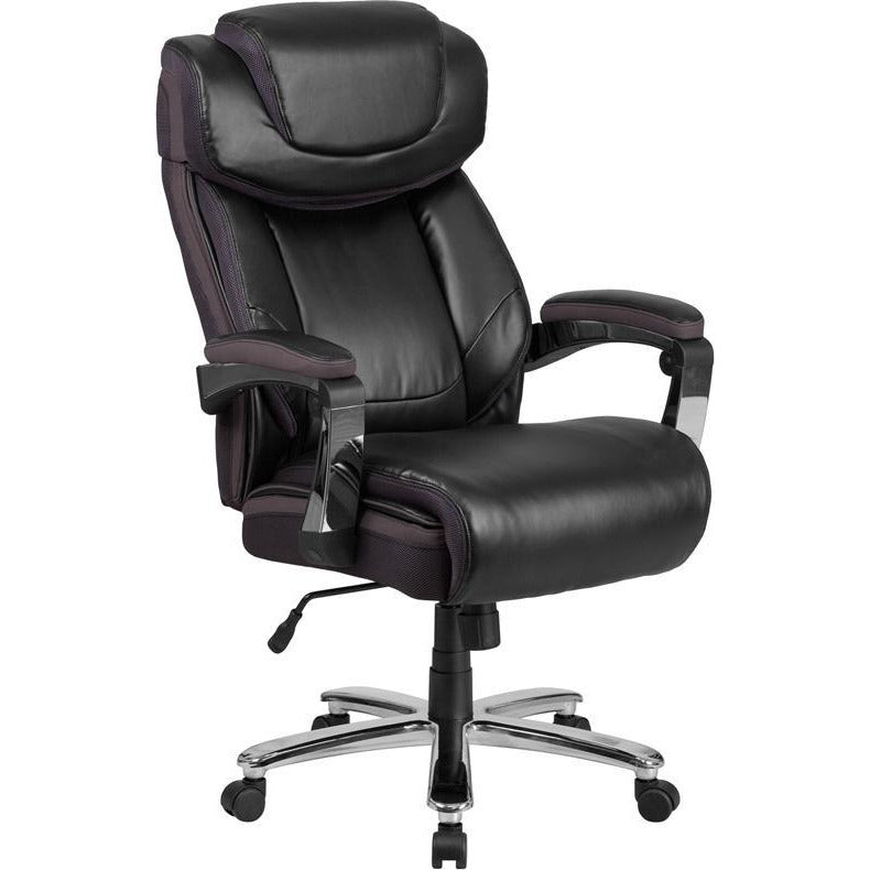 HERCULES Series Big & Tall 500 lb. Rated Black Leather Executive Swivel Chair with Height Adjustable Headrest