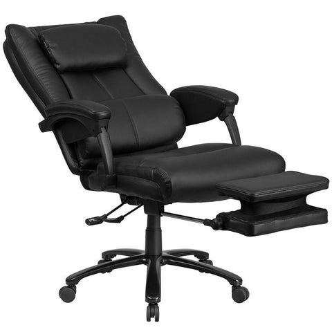 High Back Black Leather Executive Reclining Swivel Chair with Lumbar Support, Comfort Coil Seat Springs and Arms