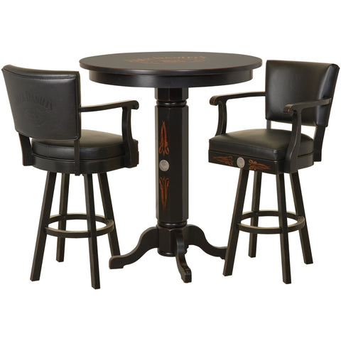 Jack Daniel's® Wood Pub Table & Backrest Barstool Set - TN CHARCOAL