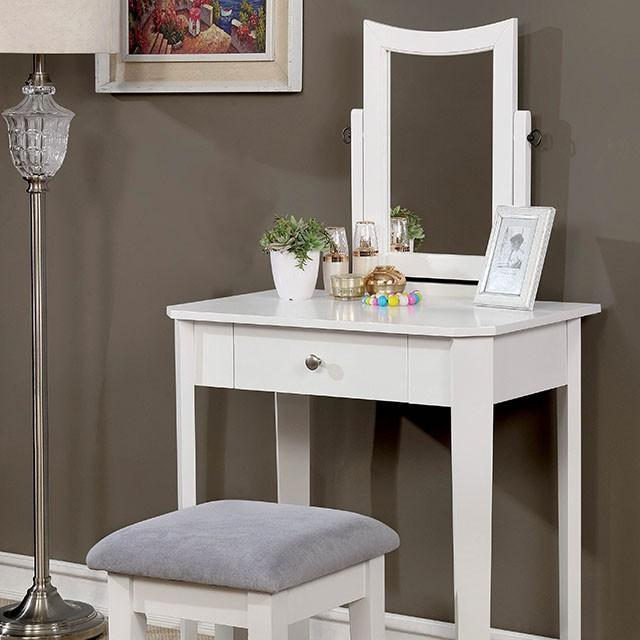 Joyce Contemporary Style White Vanity Set