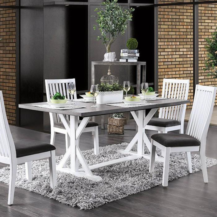 Kelsi Cottage Two-Tone Dining table in Gray and White