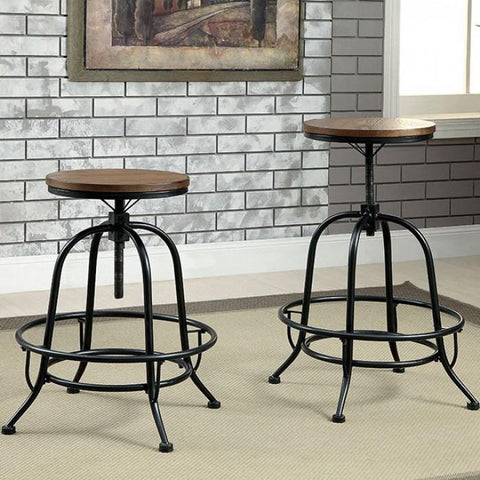 Kline Industrial Pub Stools (Set of 2) in Medium Oak