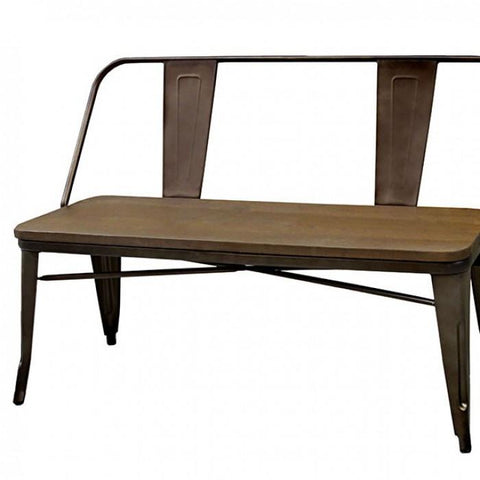 Lana Industrial Metal And Natural Elm Dining Bench in Dark Bronze