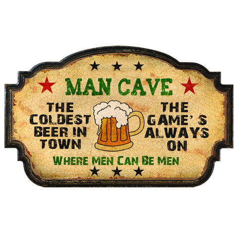 Man Cave Sign -Coldest Beer In Town