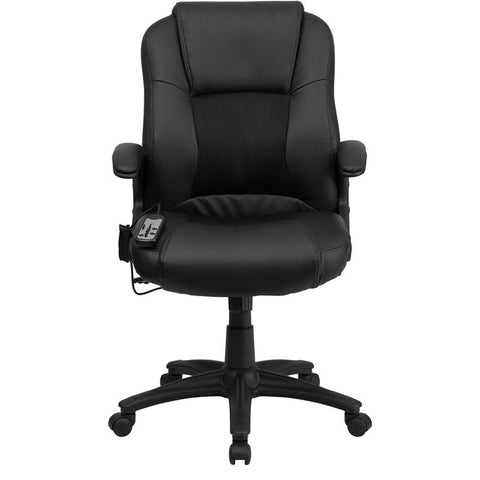 Image of Massaging Black Leather Executive Swivel Chair with Arms