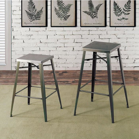 "Simon Industrial Bar Stool In Gun Metal 26"" (Set of 2)"