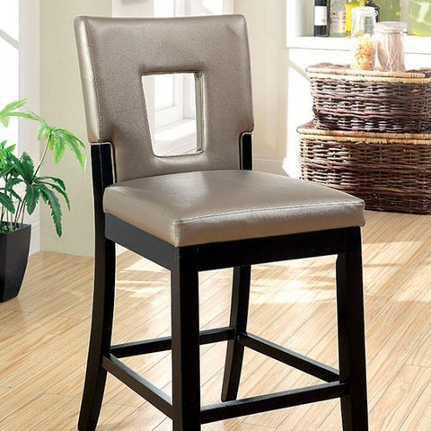 Singula Contemporary Pub Chair (Set of 2) in Black and Pewter