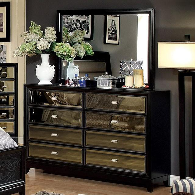 Valdez Contemporary Mirrored Panel 8-Drawer Dresser & Mirror Set