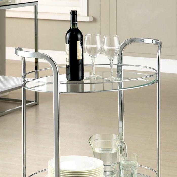 Vivienne Contemporary Style Glass Top Serving Cart