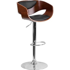 Walnut Bentwood Adjustable Height Barstool with Black Vinyl Seat