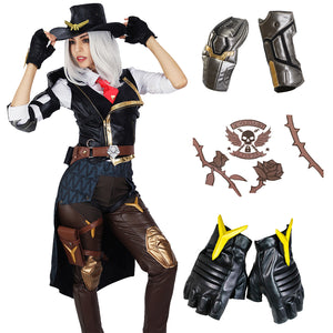 Overwatch Ashe Women Cosplay Costume - Elizabeth Caledonia Halloween Game Anime Outfit Full Set with Shoulder Armor & Gloves