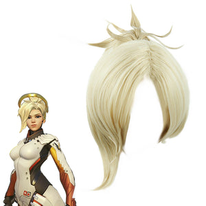 Overwatch Mercy Cosplay Wig Blonde with 1 Clip on Ponytail Heat Resistant Game Anime Hair for Women