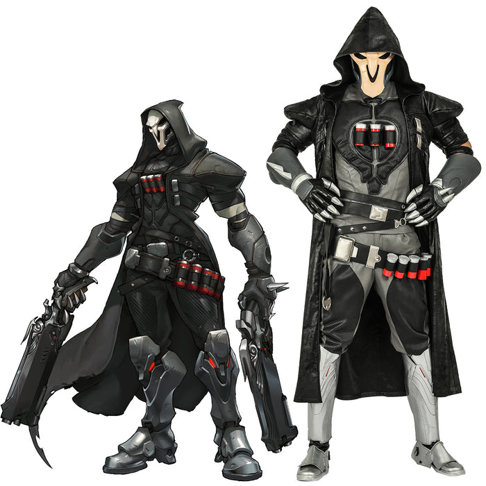 Overwatch Reaper Cosplay Costume Men's Halloween Game Anime Outfits Gabriel Reyes PU Leather Full Set