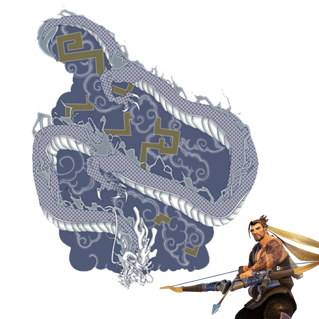 Hanzo Arm Temporary Tattoos Stickers - Full Arm & Bicep, Overwatch Cosplay Waterproof Paint Cosplay Costume Accessories