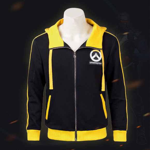 Overwatch Soldier 76 Black and Yellow Hoodie Costume