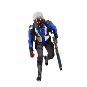 Overwatch Soldier 76 Cosplay Costume Embroidered PU Leather Outfit Game Anime Jacket & Pants Set