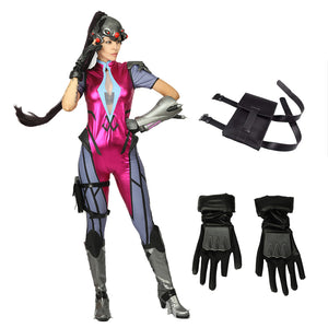 Overwatch Widowmaker Cosplay Costume Halloween One-Piece Bodysuit Jumpsuit with Gloves and Thigh Pack