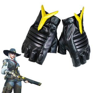 Overwatch Ashe Gloves Black PU Leather Cosplay Costume Accessories for Women/Teens