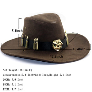 Overwatch McCree Western Cowboy Hats Cosplay Costume Accessories Game Anime Props Unisex Cap (Golden Badge, Chocolate)