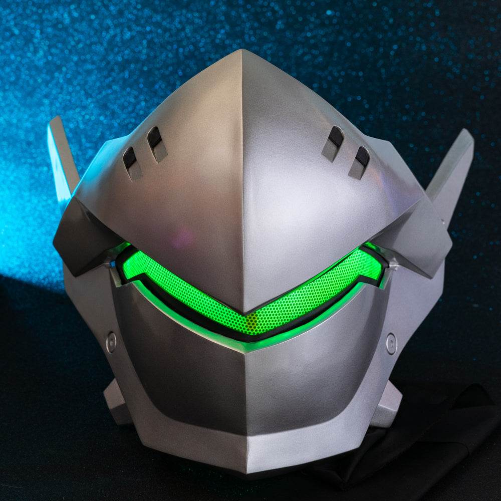 Overwatch Genji Mask Light-up Eyes 1:1 Props Knight Genji Wearable Cosplay Helmet Game Anime Costume Accessory Prop Silver