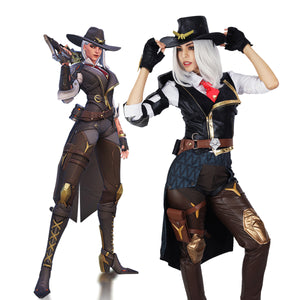 Overwatch Ashe Cosplay Costume Full Sets Halloween Anime Outfit for Women