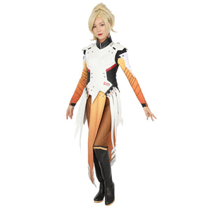 Overwatch Game Mercy Cosplay Costume Tops & Pants for Women Girls